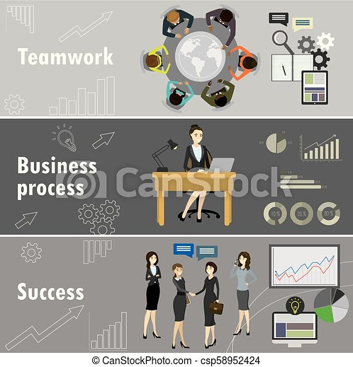 flat banner set with teamwork, business process and success. - csp58952424