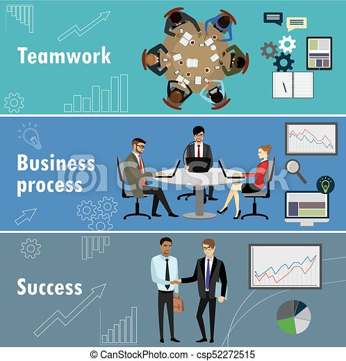 flat banner set with teamwork, business process and success. - csp52272515