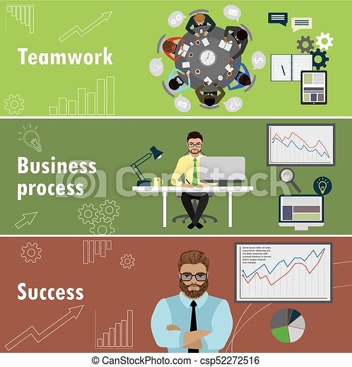 flat banner set with teamwork, business process and success. - csp52272516