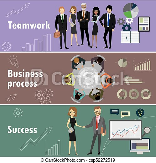 flat banner set with teamwork, business process and success - csp52272519
