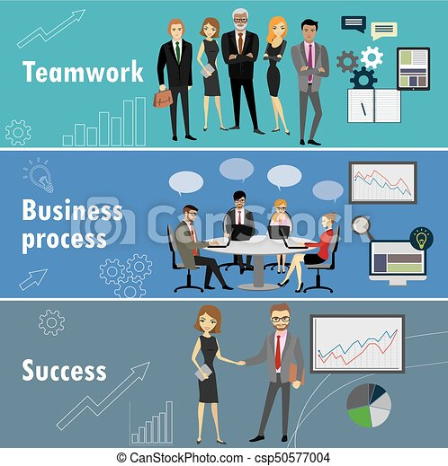 flat banner set with teamwork, business process and success - csp50577004