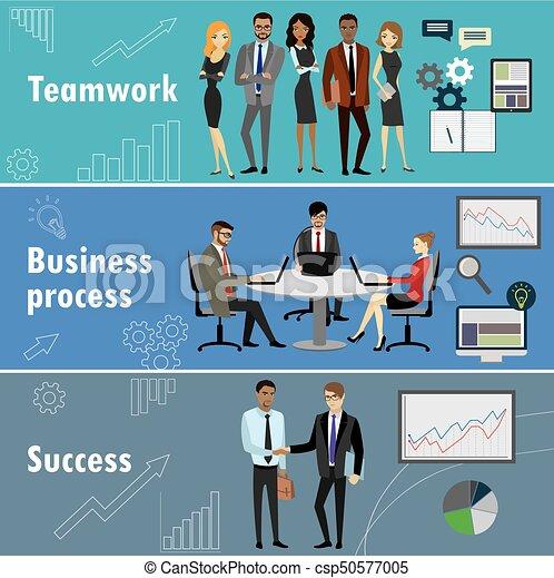 flat banner set with teamwork, business process and success - csp50577005