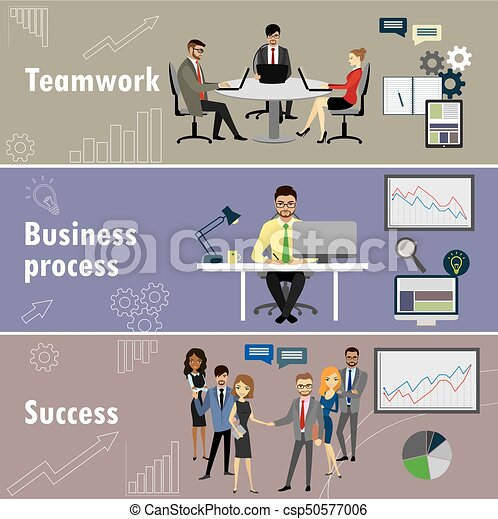 flat banner set with teamwork, business process and success - csp50577006