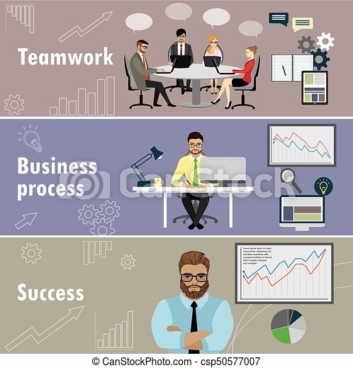 flat banner set with teamwork, business process and success - csp50577007