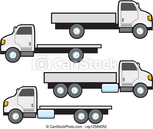 Flat Bed Truck Typical Styles Of American Flat Bed Commercial Trucks Trucks Are Plain White And Blank But Can Be Changed To