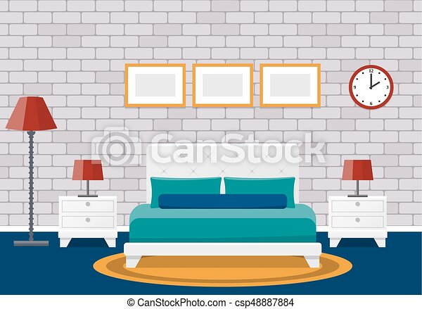 Flat Bedroom Interior Hotel Room Design Vector Background