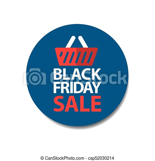 Flat black friday sale price tag sticker on blue csp52030214