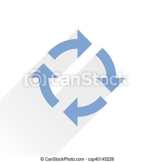 Flat blue arrow icon refresh sign on white - csp40145226