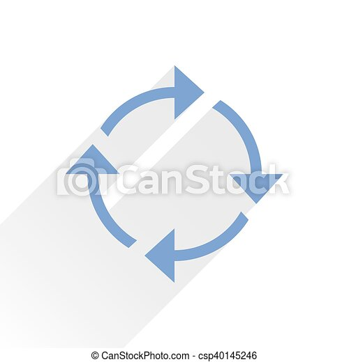 Flat blue arrow icon reload sign on white - csp40145246