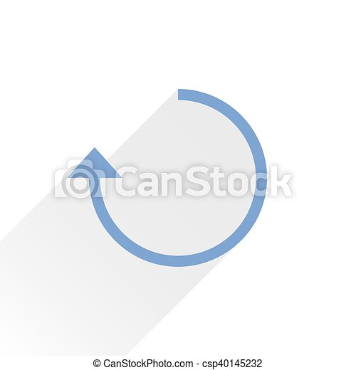 Flat blue arrow icon rotation sign on white - csp40145232