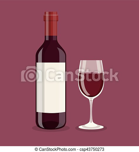 Flat bottle and a glass of wine - csp43750273