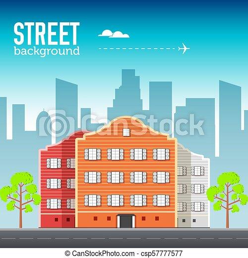 Flat buildings set. Icons background concept design. Colorful vector sity illustration - csp57777577