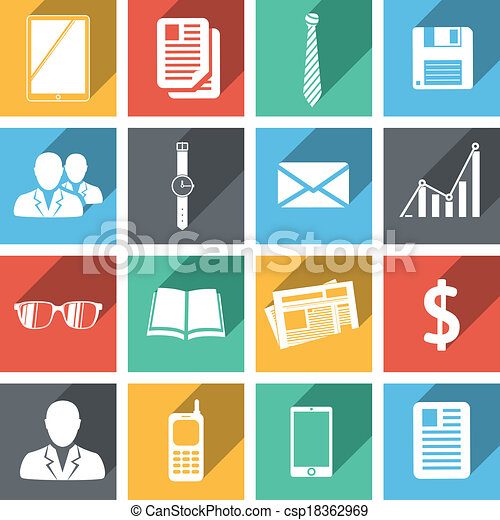 Flat business icons set - csp18362969