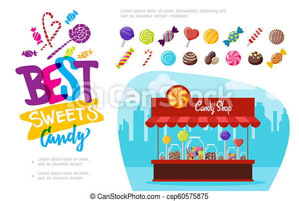 Flat Candy Shop Concept - csp60575875