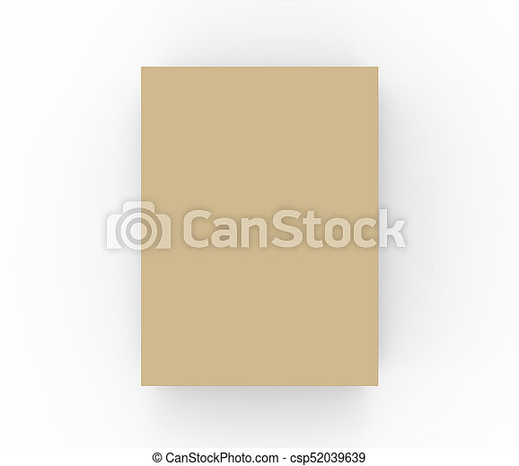 flat cardboard box mockup blank brown box template in 3d rendering