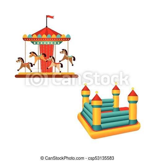 Flat carousel ride and inflatable bouncy castle - csp53135583