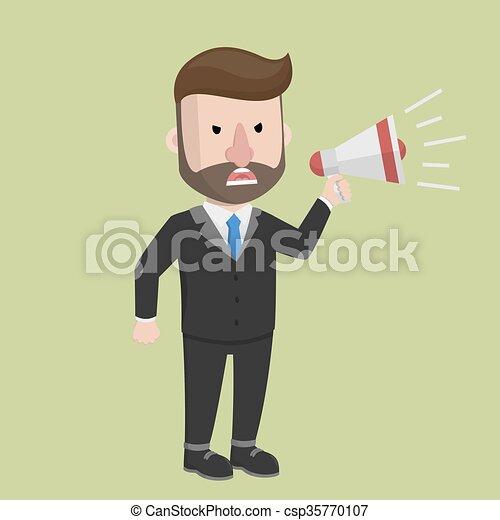 Flat cartoon business man shout on