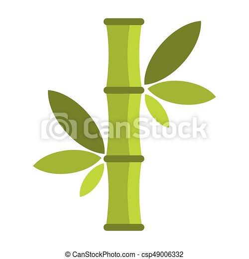 Flat Cartoon Green Bamboo Icon Isolated On White Background Element