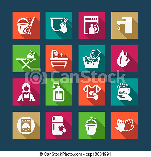 flat cleaning icons - csp18604991