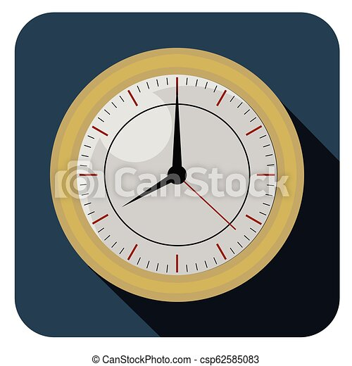 Flat clock watch icon - csp62585083