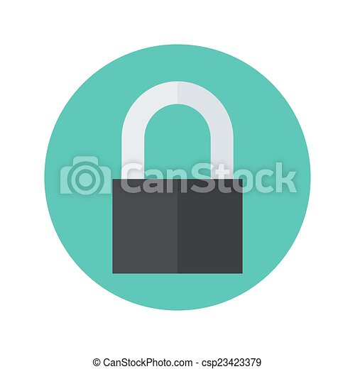 Flat closed padlock icon over green - csp23423379