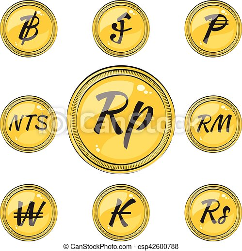 Flat Coins With Currency Symbols Set Of Coins With Symbols Of 9