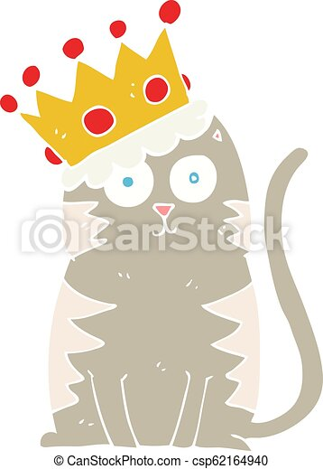 Flat Color Illustration Of A Cartoon Cat With Crown Flat Color Illustration Of Cat With Crown Trendy sticker with text and graphic design elements crown star heart curls dots. can stock photo