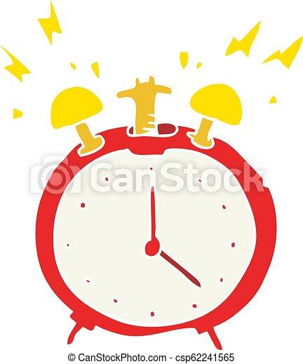 Flat Color Illustration Of A Cartoon Ringing Alarm Clock Flat Color