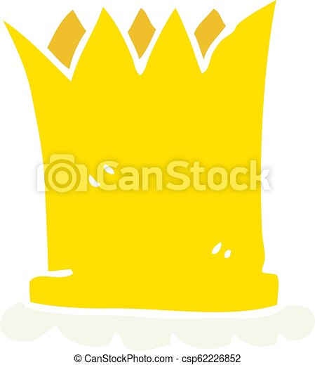 Flat Color Illustration Of A Cartoon Crown Flat Color Illustration Of Crown Sketch doodle drawing icon of cartoon crown vector. can stock photo