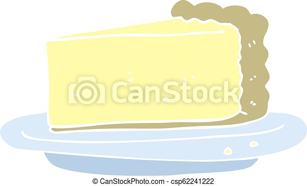 flat color illustration of a cartoon cheesecake - csp62241222