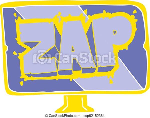 flat color illustration of a cartoon zap screen - csp62152364
