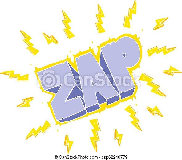 flat color illustration of a cartoon zap symbol - csp62240779