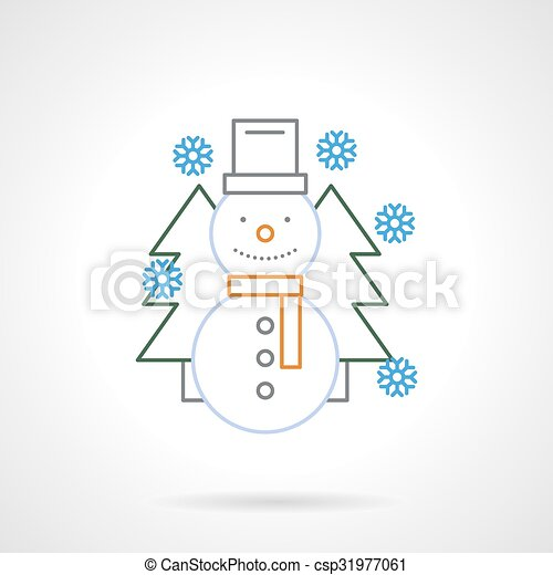 Flat Color Line Funny Snowman Vector Icon Winter Holidays Symbol