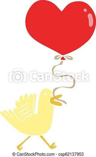 flat color style cartoon bird with heart balloon - csp62137953
