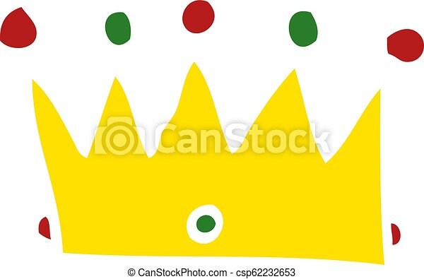 Flat Color Style Cartoon Crown Canstock Funny grey mouse in golden crown cute cartoon vector. can stock photo