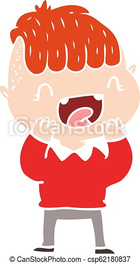 flat color style cartoon happy boy laughing - csp62180837