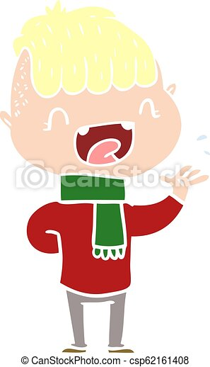 flat color style cartoon happy boy laughing - csp62161408