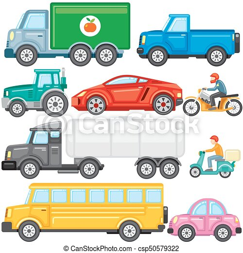 Flat Colored Cartoon Cars And Trucks Vector Icons Flat Colored