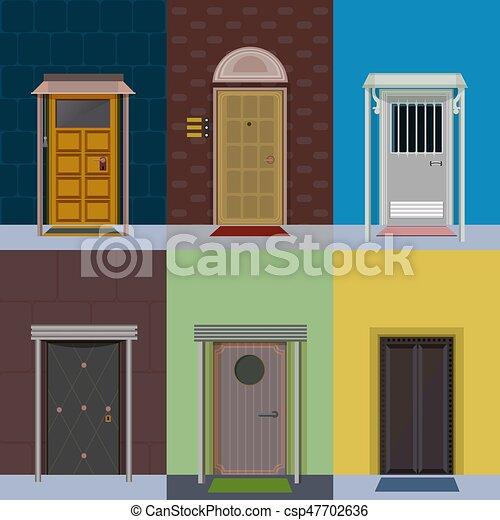 Flat Colorful Elegant Entry Doors Set Flat Colorful Elegant Entry