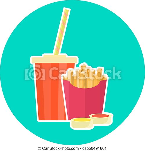 Flat colorful vector lovely fast food couple - cola and french fries - csp50491661