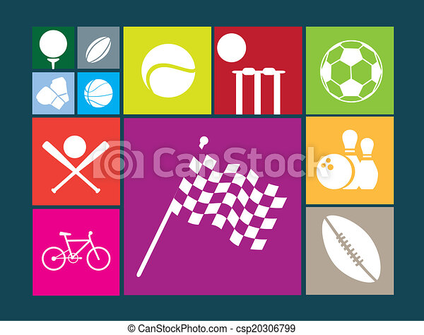 flat colour button icons on  white background of famous sports - csp20306799