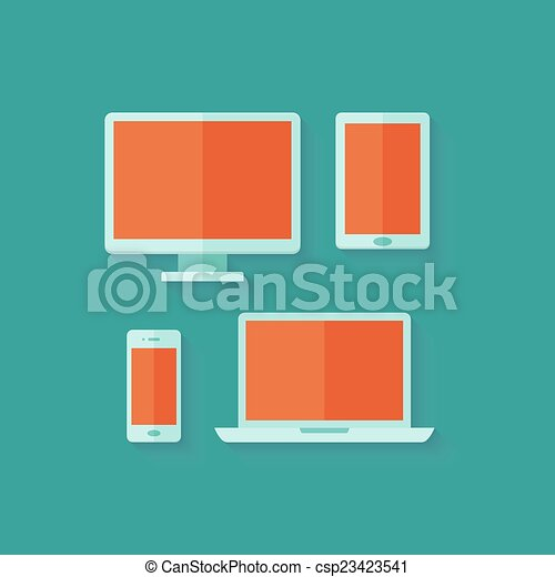 Flat computer and mobile devices set over green - csp23423541