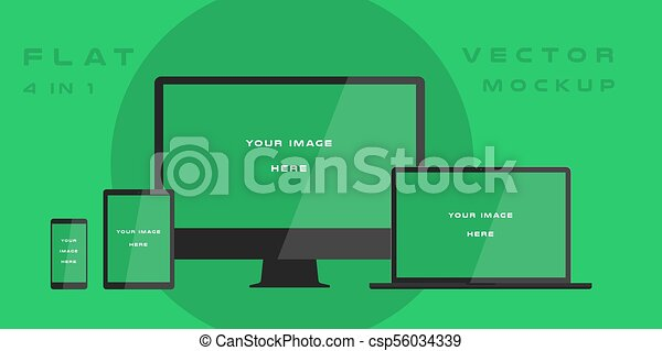 Flat computer monitor, laptop, tablet, smartphone isolated on green background. Can use for template presentation, web design and ui kits. White electronic gadget, device mockup. Vector illustration - csp56034339