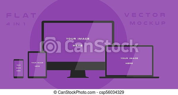 Flat computer monitor, laptop, tablet, smartphone isolated on purple background. Can use for template presentation, web design and ui kits. White electronic gadget, device mockup. Vector illustration - csp56034329