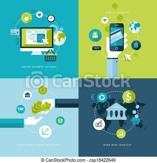 Flat concepts for online payment - csp18422649