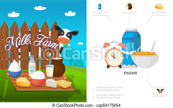 Flat Dairy Products Concept - csp59175654
