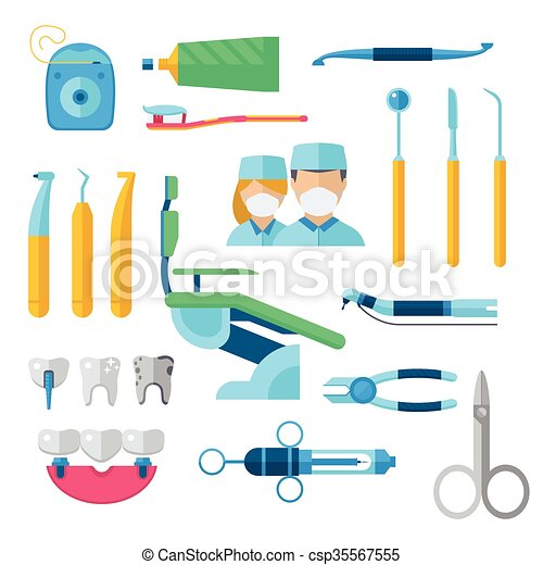 Flat Dental Instruments Set Dentist Tools Concept Vector Illustration