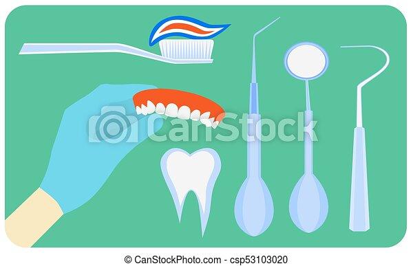 Flat dental instruments set - csp53103020