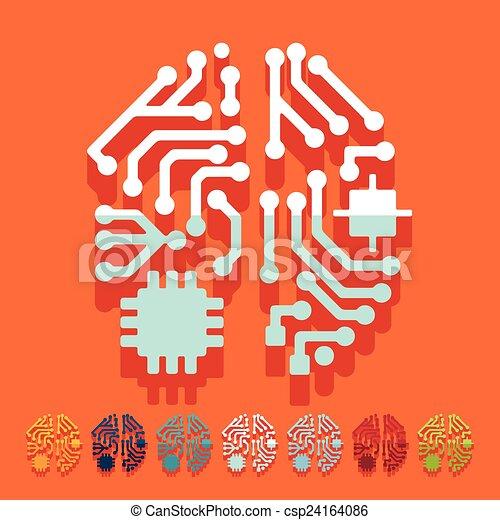 Flat design: artificial intelligence - csp24164086
