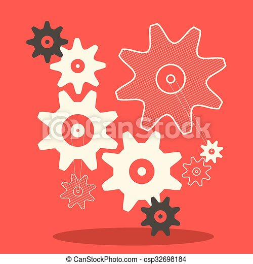 Flat Design Cogs - Gears Vector Illustration in Retro Style on Red Background - csp32698184